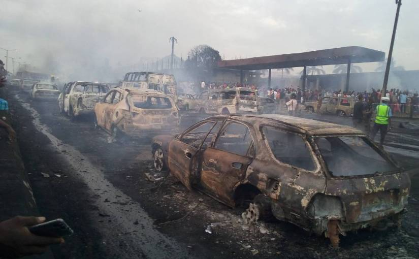 Breaking news  About 30 cars burnt at Otedola Bridge axis Berger!