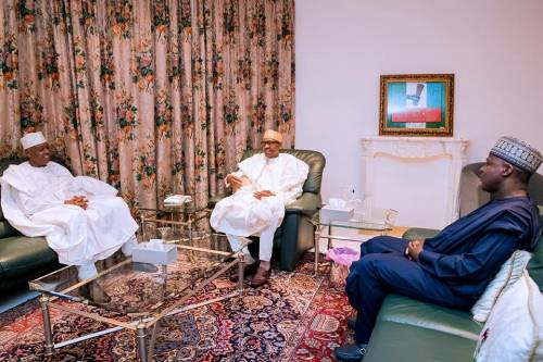 President Muhammadu Buhari has met with Dr Bukola Saraki and Yakubu Dogara, the two leaders of the National Assembly over security issues in the country.