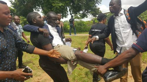 The protracted hostility between the Nigeria Police and Peace Corps resurfaced on Tuesday morning in Abuja, as policemen fired gunshots and teargas canisters during a protest in the federal capital, injuring one of the members of the corps.