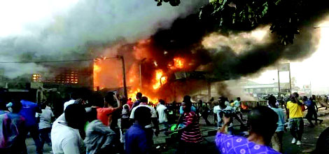 Breaking News :Jos Main  Market Erased By  Fire AtMidnight