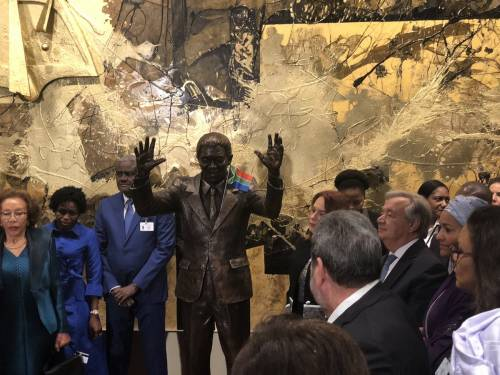 United Nations  Unveiled  The  Statue  Of  Nelson Mandela At New York
