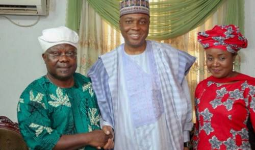 Bukola Saraki, President Of  the The Senate visited Omisore on Monday To  Enlist  His  Support For Adeleke