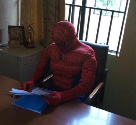 ASUU Strike: Lecturer Dresses As Spider Man To Attend To Students(Photos)