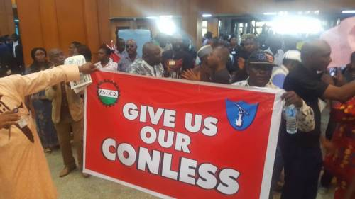 Breaking News:Lawmakers Take To Their Heels As Protesting Staff Shut Down NationalAssembly